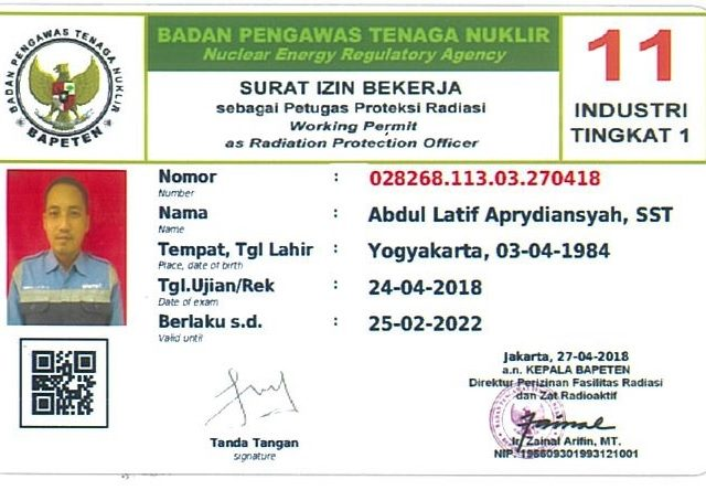 National working permit of radiation workers
