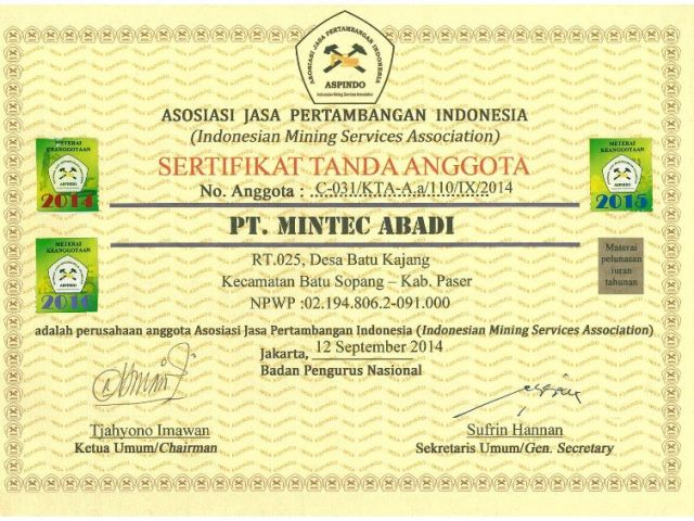 ASPINDO member certification